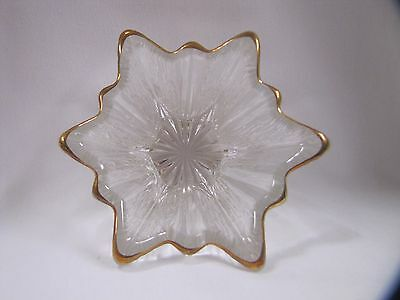 Glass Star Candle Holder Antique Gold Rim Cut Glass Design Antique