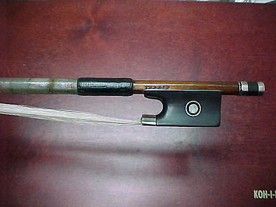 """Certified Old pernambuco Violin Bow Stamped: """" KITTEL """"  silver mounted"""