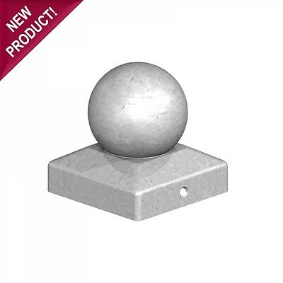 """5 x 100mm ROUND BALL FINIAL SQUARE GALVANISED METAL FENCE POST CAP For 4""""  POSTS"""