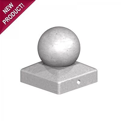 """10 x 100mm ROUND BALL FINIAL SQUARE GALVANISED METAL FENCE POST CAP For 4"""" POSTS"""