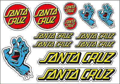 Santa Cruz Sticker Sheet for Skate, Skateboard BMX Scooter Car Bumper Stickers