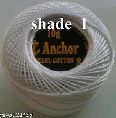 10 ANCHOR Pearl Cotton Crochet Embroidery Thread Balls White. size 8