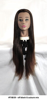 """28"""" Recurlable Human Hair Mix Blend Cosmetology Mannequin Head & FREE CLAMP (K)"""