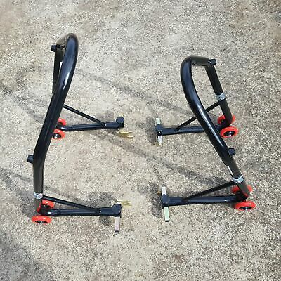 HEAVY DUTY MOTORCYCLE MOTORBIKE BIKE REAR &FRONT STAND, Free Flats and Hooks !