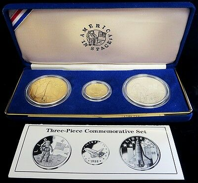 1988 Gold & Silver Us Mint America In Space Young Astronauts 3 Coin Mint Set