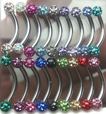 Eyebrows piercing Czech crystal 3mm ferido ball epoxy coated 18 pieces / 1set