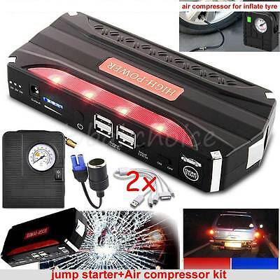 Portable 68800mAh Car Jump Starter Battery Charger Power bank + Air compressor