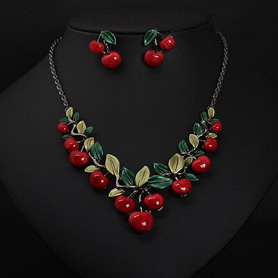 Cherry Necklace Earrings Jewelry Set Tourist Souvenir Friends And Family Gift