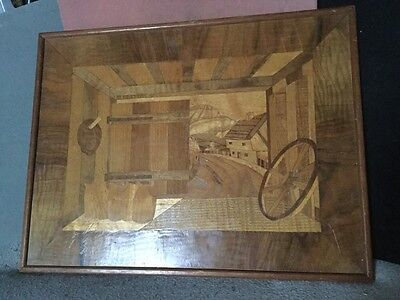 Vintage English Marquetry Picture Open Barn Door Looking Out To A Village C 1956
