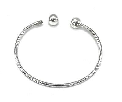 925 Sterling Silver Screw End Charm Torque Bangle Bracelet  Circumference 20 cm
