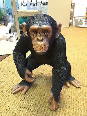 Standing Chimpanzee sculpture Chimp statue Life like Chimpanzee for home garden
