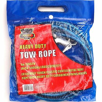 Heavy Duty 5000kg Load Plastic Coated Steel Wire Tow Rope & Carabiner Hooks