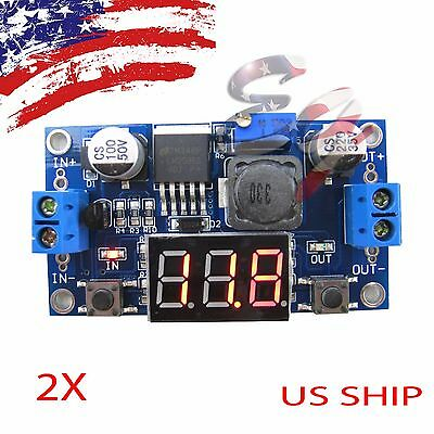 2X Buck Step-down LM2596 Power Converter Module DC 4~40 to 1.3-37V LED Voltmeter