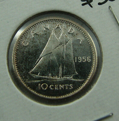 1956 Canada 10 cents proof like cameo