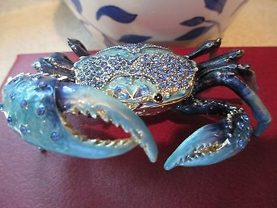 Blue Crab ~   Bejeweled Trinket Box   #3296