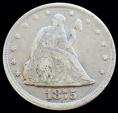 1875 Cc Silver Seated Liberty Twenty Cent Piece Coin Very Good Condition