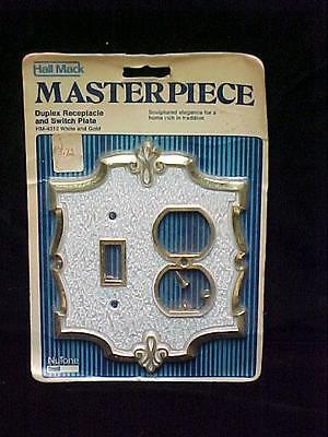 Vintage NOS Ornate Duplex Receptacle & Switch Plate Cover White w/ Brass Accents
