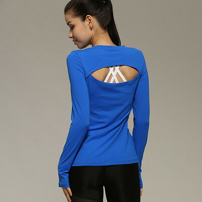 Womens Workout Yoga Shirts Long Sleeve Quick Dry Gym Fitness Running Top Tee SML