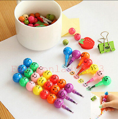 New lovely 7Colors Cute Stacker Swap Smile Face Crayons Children Drawing Gift YX