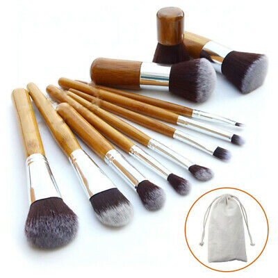 Natural Bamboo Pro 11 Pcs Cosmetic Brush Set Hair Make Up Beauty Brushes + Pouch