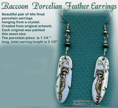 Porcelain Raccoon Feather Earrings made in the US