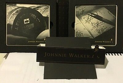 Set of Two Limited Edition Johnnie Walker Wiskey Glass Coasters W/Display Box