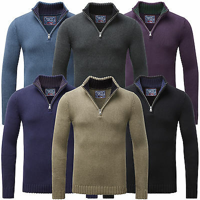 Charles Wilson Men's Premium Cotton Thick Knit Zip Neck Jumper Sweater New
