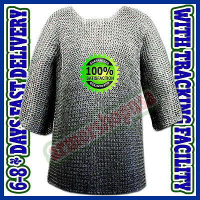 Round Riveted w/ Flat Washer Chain Mail Hauberk Large Size Chainmail Shirt