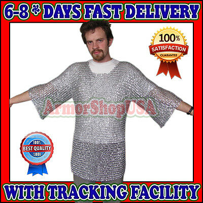 Aluminium Xtra Large 16 G Round Riveted Chain Mail Shirt Medieval Chainmail Xl