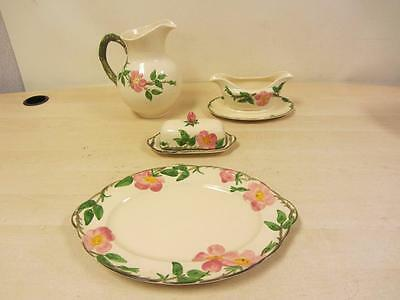 Franciscan Desert Rose China Pitcher, Gravy Bowl, Butter Dish, and Platter