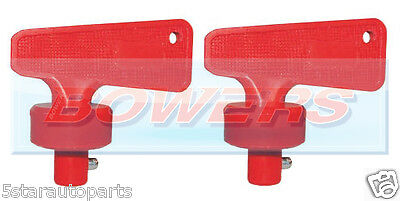 Pair Of Red Battery Cut Off Kill Isolator Switch Spare Keys Fia Marine Auto