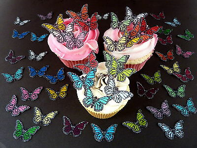 50 x PRE-CUT MIXED SMALL BUTTERFLIES EDIBLE RICE WAFER PAPER CUP CAKE TOPPERS