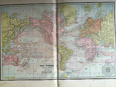 Antique COLOR MAP of The World-circa 1893