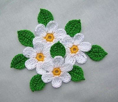 CROCHET WHITE Daisy Flowers Appliques,Embellishments,SCRAPBOOKING CRAFTS SUMMER