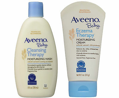 Aveeno Baby Eczema Therapy Moisturizing Cream 5oz AND Cleansing Therapy Wash 8oz
