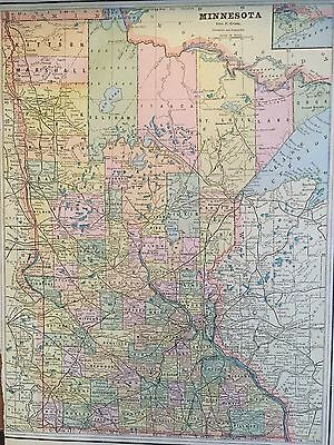 Antique COLOR MAP of Minnesota-circa 1893