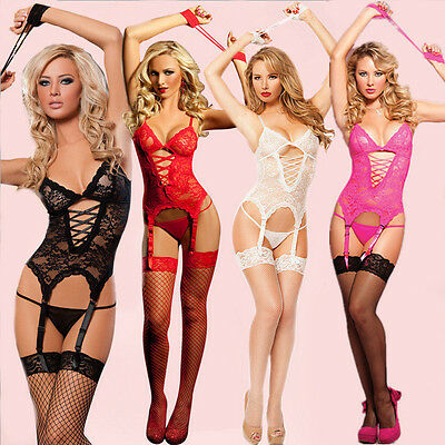 Women Sexy Lingerie Nightwear Underwear Sleepwear Babydoll+G String Lace Dress