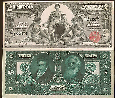 Reproduction $2 Bill Educational Note 1896 Silver Certificate Morse Fulton