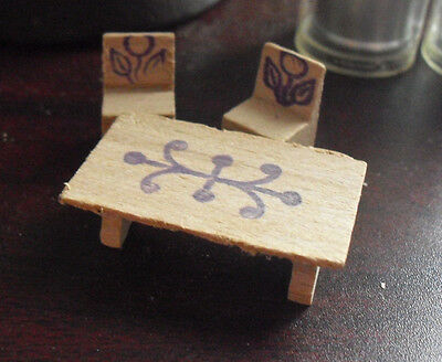 Lot of 3 Vintage 1950s Miniature Dollhouse Furniture Pieces Table and 2 Chairs
