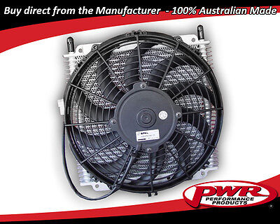 "PWR HD TRANSMISSION OIL COOLER 280x255x19mm 3/8"" barbs w/ Spal 11"" fan PWO0528SP"
