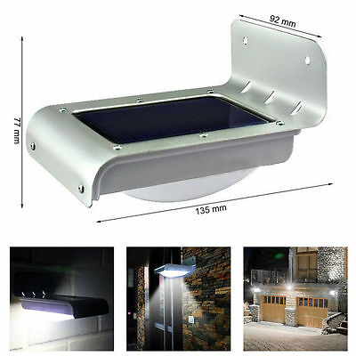 16 Led Solar Powered Motion Sensor Outdoor Security Wall Garden Light Lamp