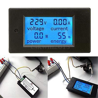 20A AC Digital LED Power Panel Meter Monitor Power Energy Voltmeter Ammeter New