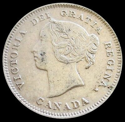 1885 Silver Canada 5 Cents King Victoria Coin Very Fine Condition