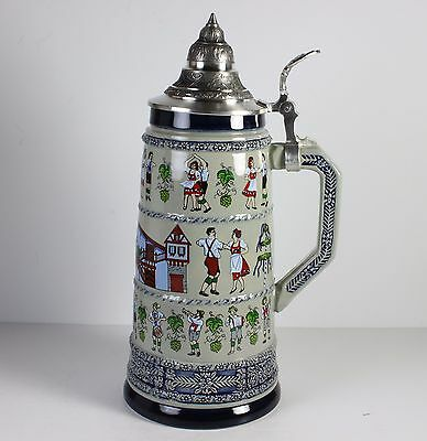 "German Lidded Stein * 11"" Tall * Busch Gardens *  By A.j.thewalt * Limited Ed."