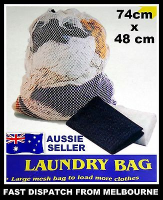 76 x 52 cm Large White Mesh Laundry Clothes Storage Carry Bag Travel Camping NEW