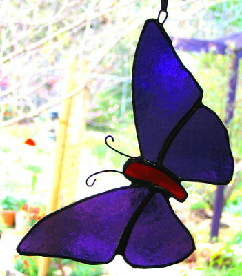 PURPLE & RUBY RED STAINED GLASS BUTTERFLY suncatcher CUSTOM LEADLIGHTS in STORE
