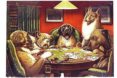 Vintage Framed Print – Dogs Playing Cards (Picture Poster Animal Cats Birds Art)
