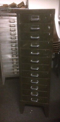 Vintage Industrial Metal 12 Drawer Filing Cabinet Storage • £165.00