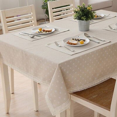 White Daisies Lace Wipe Clean Tablecloth Table Cover Cloth 48*38-140*220cm