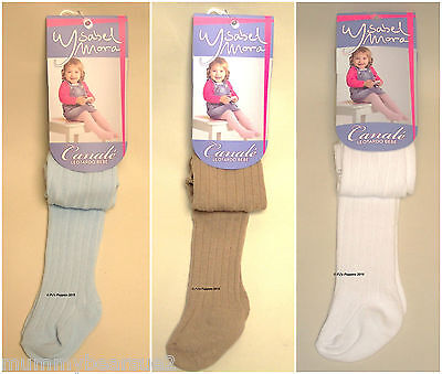 Baby Boys Girls Ribbed Spanish Tights Camel, Blue Or White 0 3 6 9 12 18 24